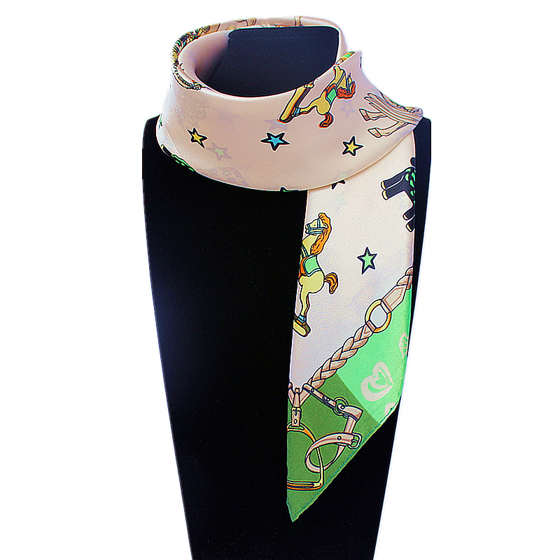 60cm*60cm Women 2016 New Fashion Imitated Silk Korea Cute Cartoon Horse five-pointed star Printed Small Square Scarf Hot Sale(China (Mainland))