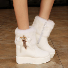 2016 New Fashion Rhinestone Metal Star 4.5cm Height Increasing Women's Snow Boots Concise PU Leather Warm Plush High Heels Boots(China (Mainland))