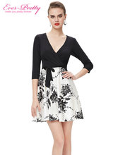Cocktail Party Dresses Ever Pretty AP05241BK Elegant Black and White Fashion Half Sleeve Summer Style Cocktail Dresses 2016(China (Mainland))