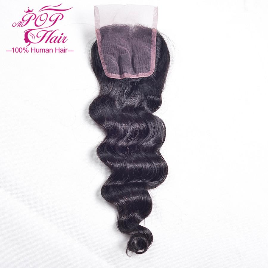Brazilian virgin hair lace closure 7A brazilian loose wave closure  8-24 human hair closure Middle part,free part,three part<br><br>Aliexpress