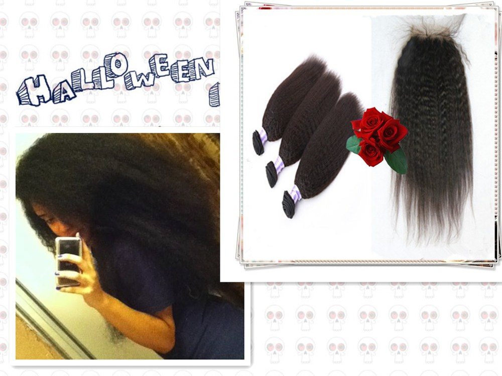 Final Clean Out Top Grade Malaysians Coarse Yaki Hair Kinky Straight Hair Weave 2 Bundles With 1 Lace Closure 3pcs Lot kinky Qhp(China (Mainland))