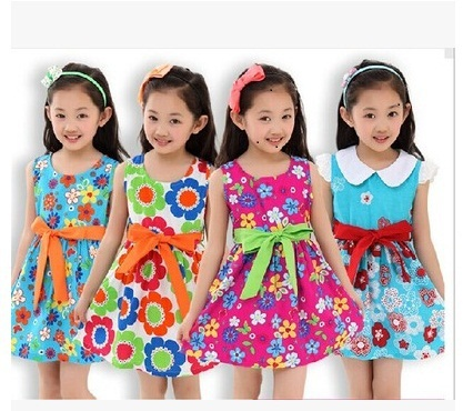2015 hot sale Sleeveless Lace Net Vile Dress Wholesale Crew Neck One Piece Children Fashionable baby Summer Dress(China (Mainland))