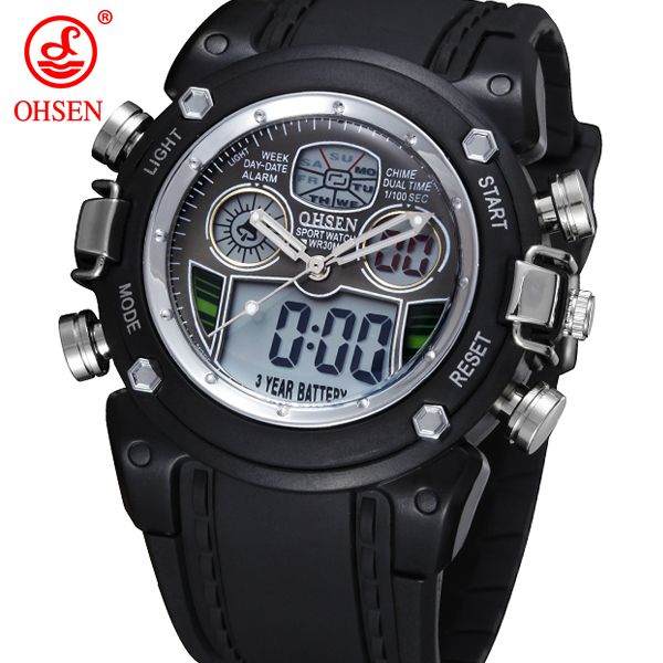 New OHSEN Waterproof Diver Military Wristwatch Mens Dual Time Sport Watch Alarm Date Week Chronograph Relogio Feminino Masculino<br><br>Aliexpress