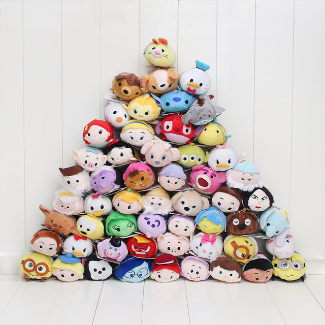 Tsum Tsum mini Plush toy Cinderella stitch toy story plush strap doll phone Screen Cleaner Snow white Mermaid Despicable Me 9cm
