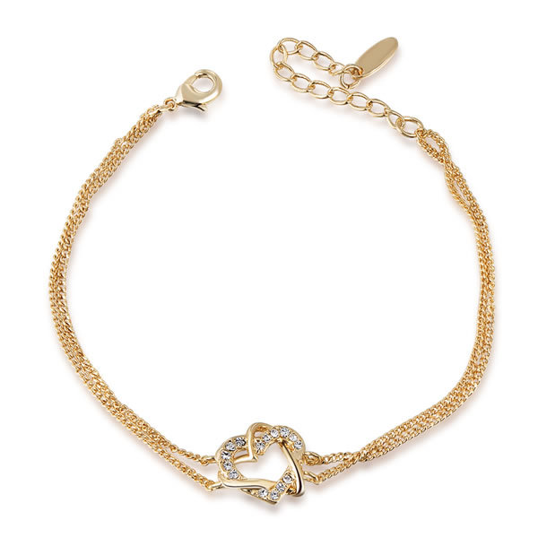 Best-selling Austrian Crystal Gold Double Heart Winding Bracelet SWA ELEMENT Austrian Crystal Bangle Free Shipping 2060012355B(China (Mainland))