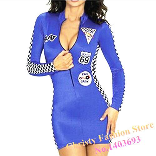 #psyun005 blue racing suits sexy women slim Motorcycle dress auto salon girls night club skirts(China (Mainland))