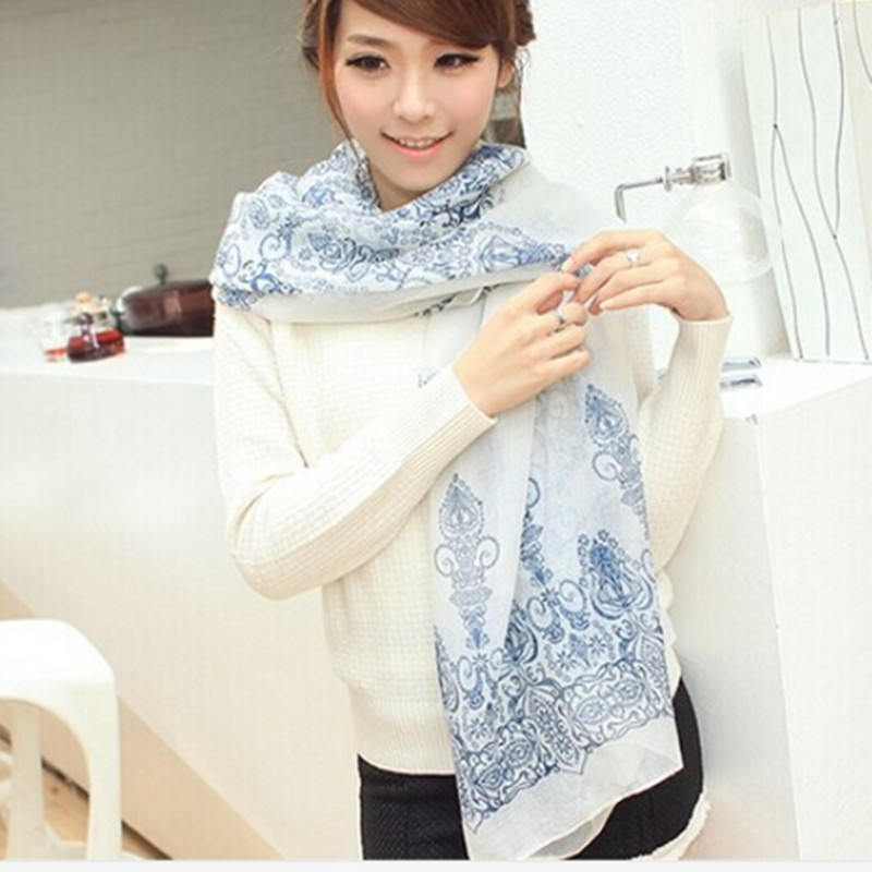 Spring 2014 New Nice Scarves &amp; Wraps Vntage Blue Chiffon Silk a Scarf Skull Fashion Cotton For Woman Free Shipping 8 colorsОдежда и ак�е��уары<br><br><br>Aliexpress