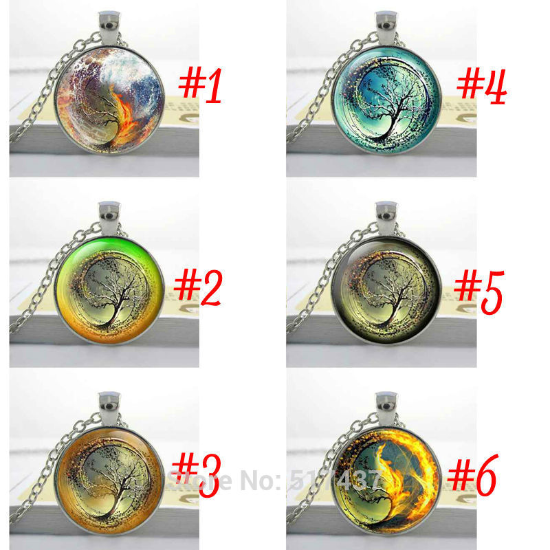 1PC Free Shipping Divergent Inspired - Brown Background - Insurgent - sea tsunami Glass Pendant Divergent Necklace(China (Mainland))
