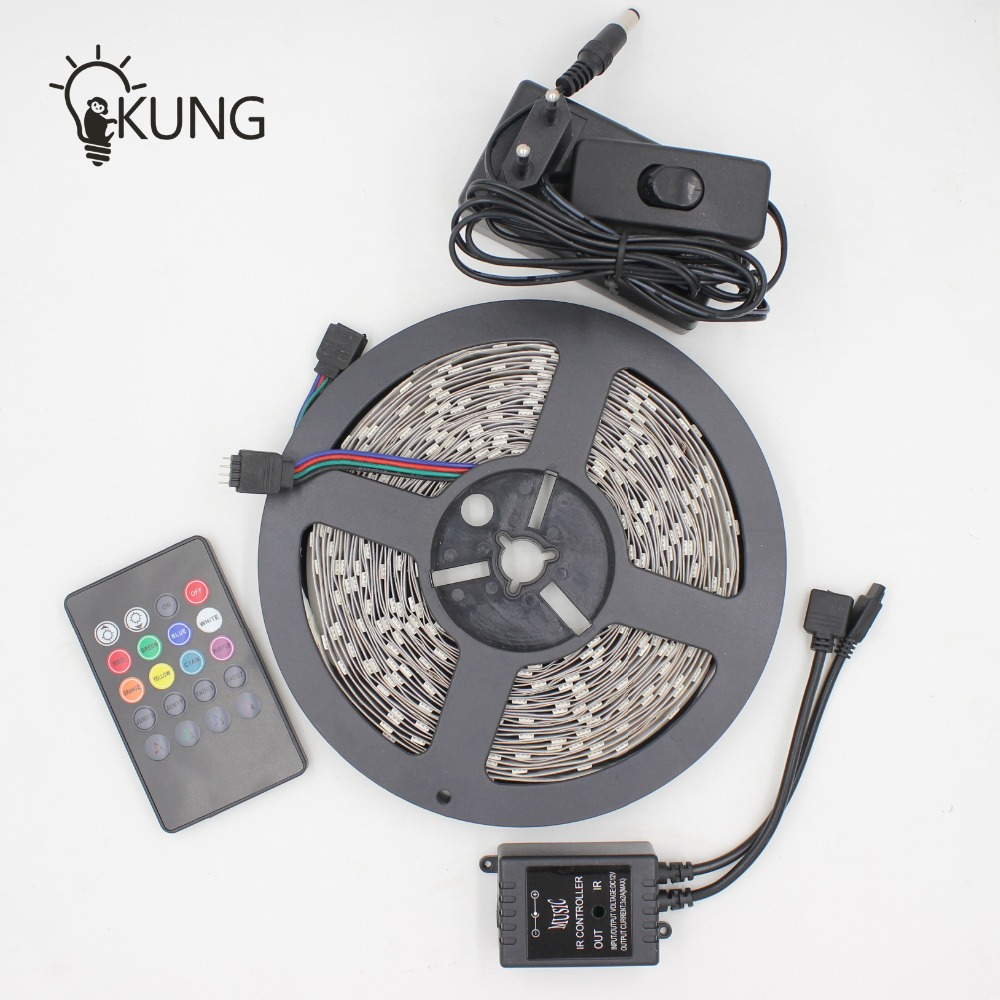 Sensor Music Controller kits 10 meter RGB SMD5050 LED strip with adapter for home for party for pub to Russia Ukraine Brazil(China (Mainland))