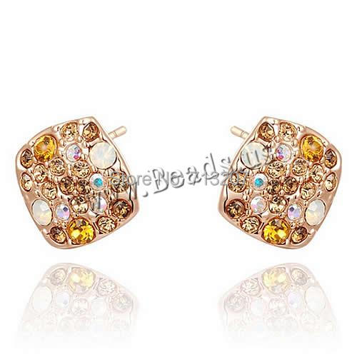 Free shipping!!!Zinc Alloy Stud Earring,Gift, brass post pin, Square, real rose gold plated, with cubic zirconia, nickel