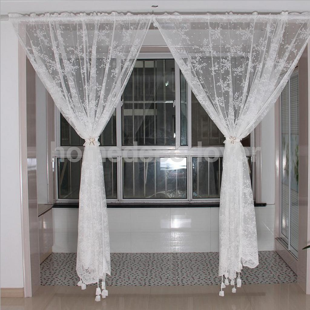 1Pcs White Amazing Voile Net Curtains Window Drapes Panel Sheer Scarf  Valances Living Dining Room New