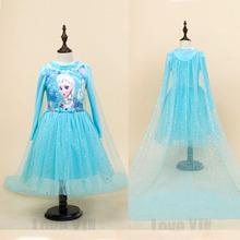 2016 High Quality Custom Anna&Elsa Girls Princess Dress Kids Girl Vestidos Baby Children Cosplay Dresses Pincess Party Dresses