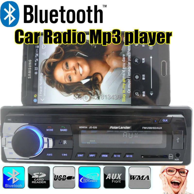 New 12V Bluetooth Car Radio MP3 Audio Player 5V Charger/MP3/FM /USB/SD/AUX-IN/Car Electronics car audio bluetooth In-Dash 1 DIN(China (Mainland))