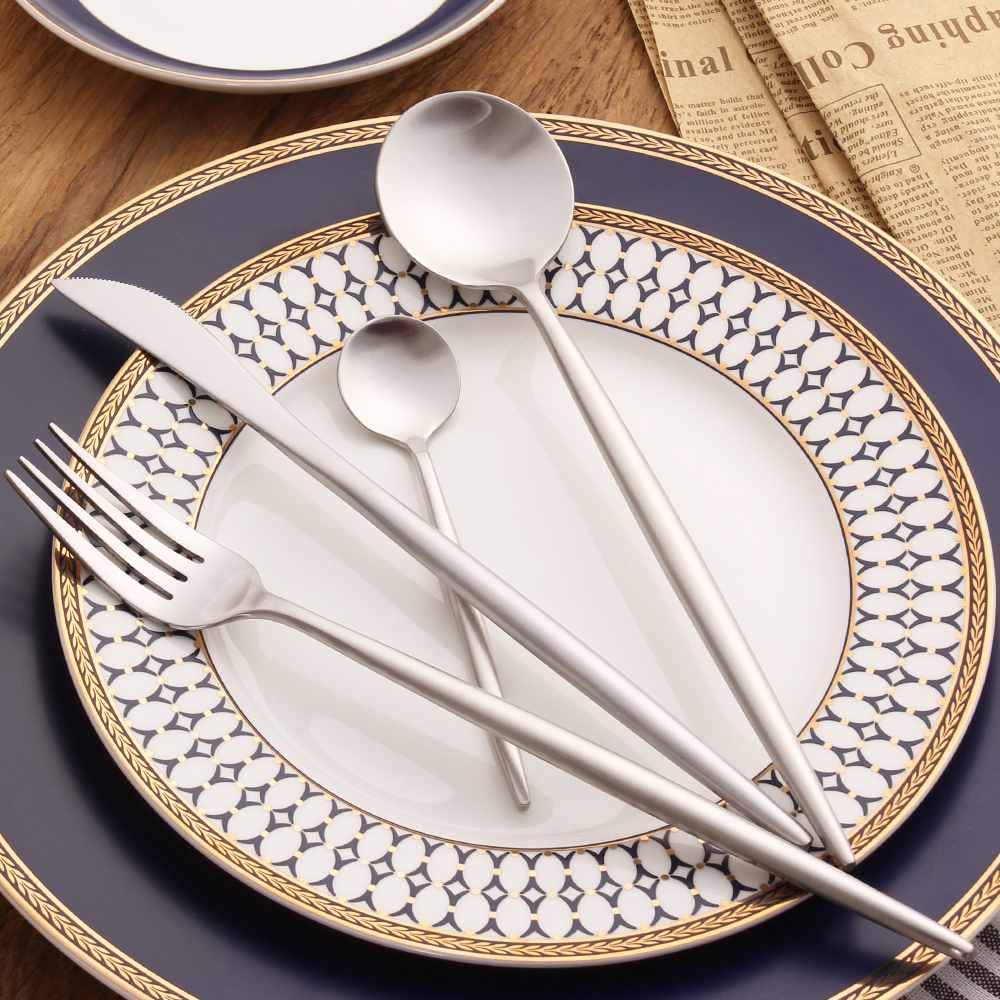 All-Silver draw wire Cutlery Set knife Scoops fork Silverware Set 18/10 Stainless Steel Dinnerware Set Restaurant Tableware Set(China (Mainland))