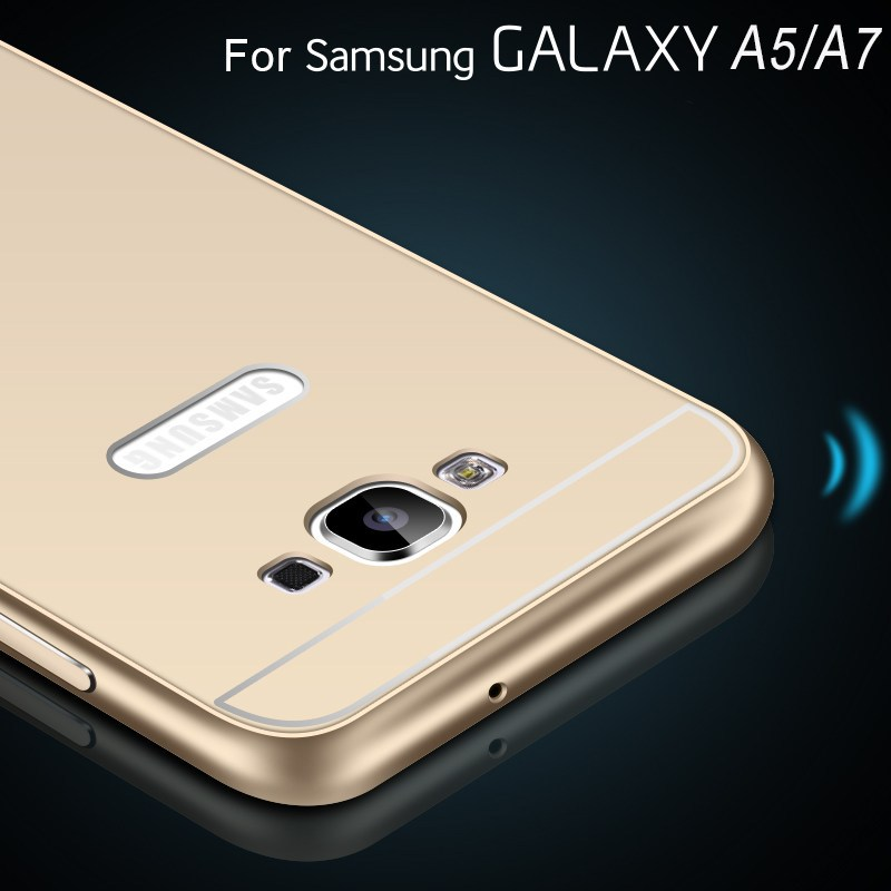 A5/A7 Mobile Phone Cover Gold Slim Luxury Aluminum Metal + Hybrid Armor Case For Samsung Galaxy A5 A5000 A7 A7000 Drop Shipping(China (Mainland))