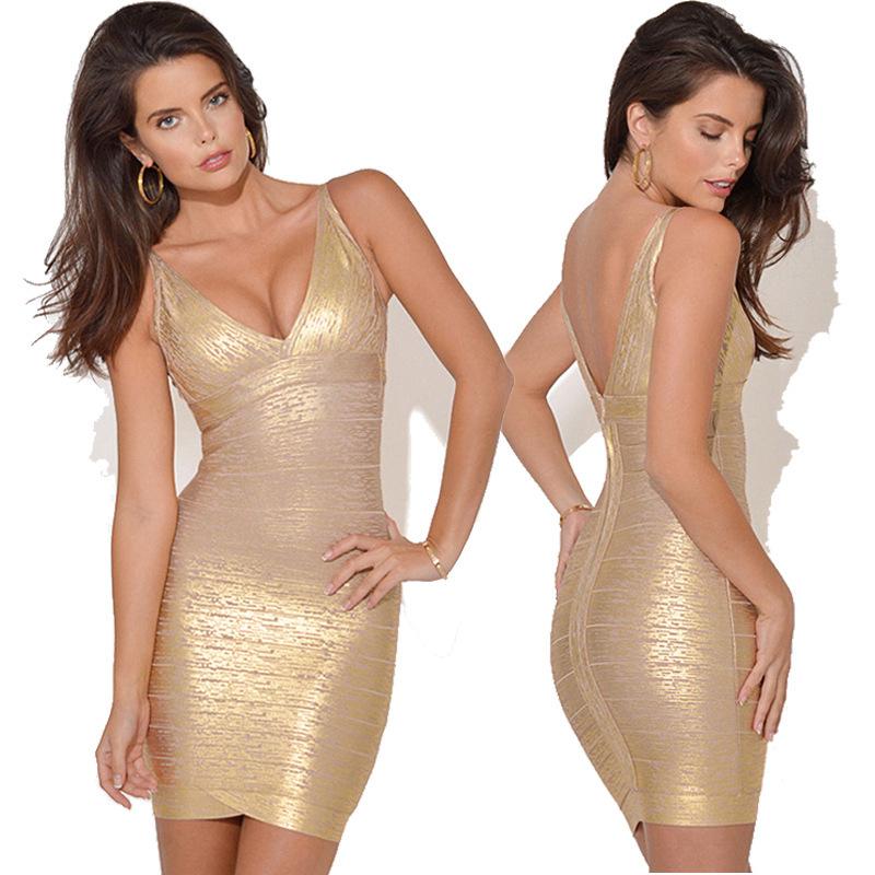Europe and new sexy v-neck bronzing gel packs-hip self bandage dresses, women fashion dressОдежда и ак�е��уары<br><br><br>Aliexpress
