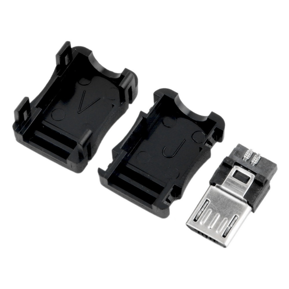 10 pcs DIY Micro USB Connector T Port Male 5 Pin Plug Socket adapter Plastic Cover(China (Mainland))