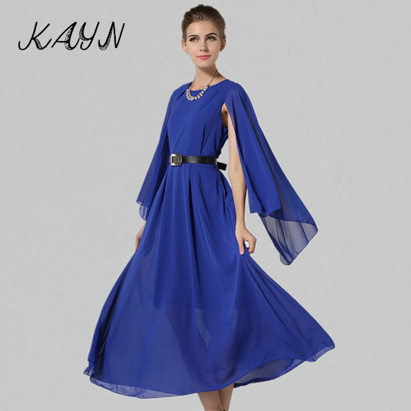 2015 Vestidos Women Long Dress Ladies Elegant Batwing Shawl Sleeve Big Swing Pleated Chiffon - KAYN Boutique Clothing store