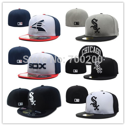 Men & Women MLB Teams Chicago White Sox Baseball Cap Embroidery Front Logo Structure Fit Player Fitted Hat Free Shipping(China (Mainland))