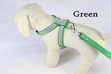 (1 harness+1 leashes) 11 colors Pink Blue Pet dog collar accessories  Pu Leather Diamond Rhinestone Pet Dog harness(China (Mainland))