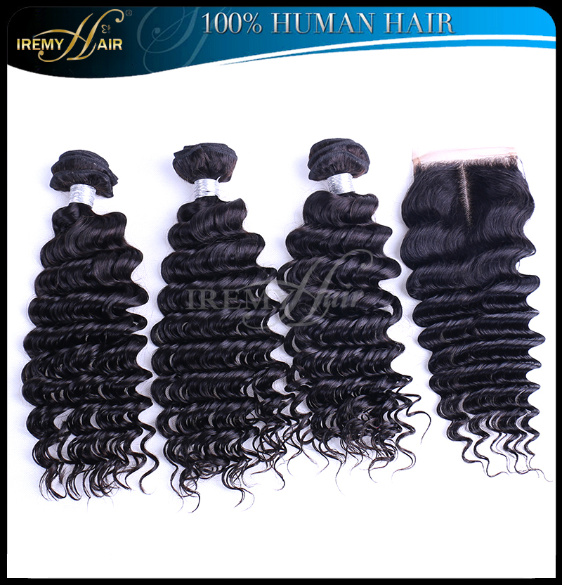 Unprocessed brazilian deep wave with closure brazilian curly virgin hair with closure 3/4 pcs human hair weave with lace closure(China (Mainland))