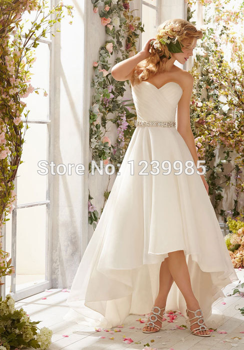 2015 new arrival sexy mid calf length sweetheart for Calf length wedding dresses