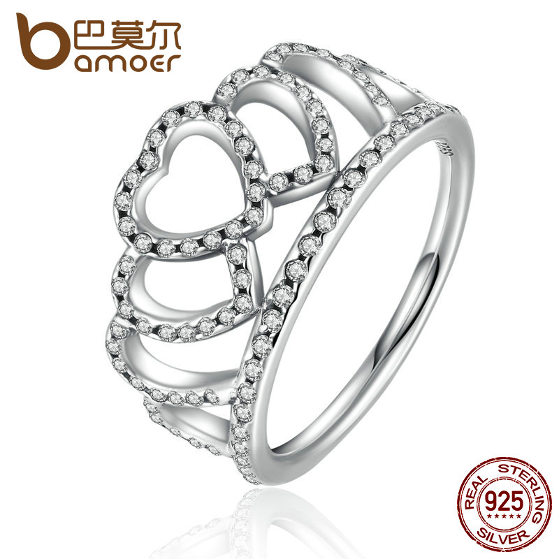 BAMOER 100% 925 Sterling Silver Hearts Tiara, Clear CZ Women Finger Ring Compatible with Original Jewelry PA7194(China (Mainland))