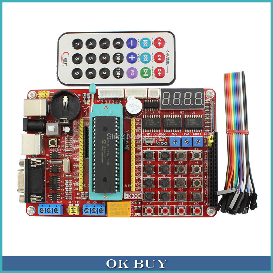 PIC Development Board Kit Microchip PIC16F877A Integrated Circuit Learning Board with Remote Control(China (Mainland))