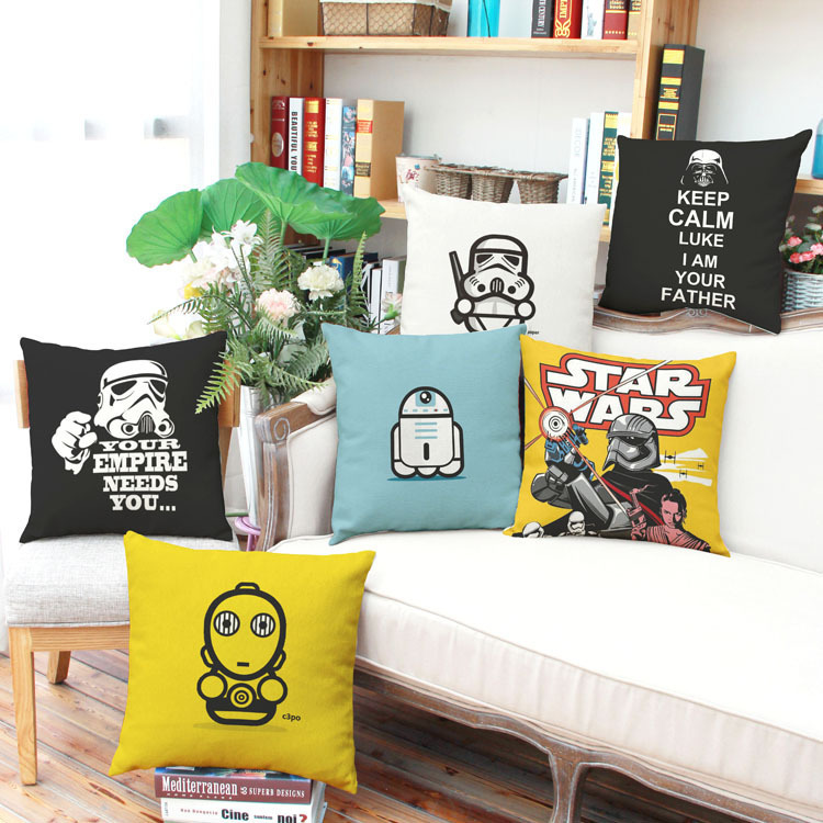 Star Wars cartoon Cotton Linen car pillow cover cushion cover sofa backrest Decoration (excluding interior core)(China (Mainland))
