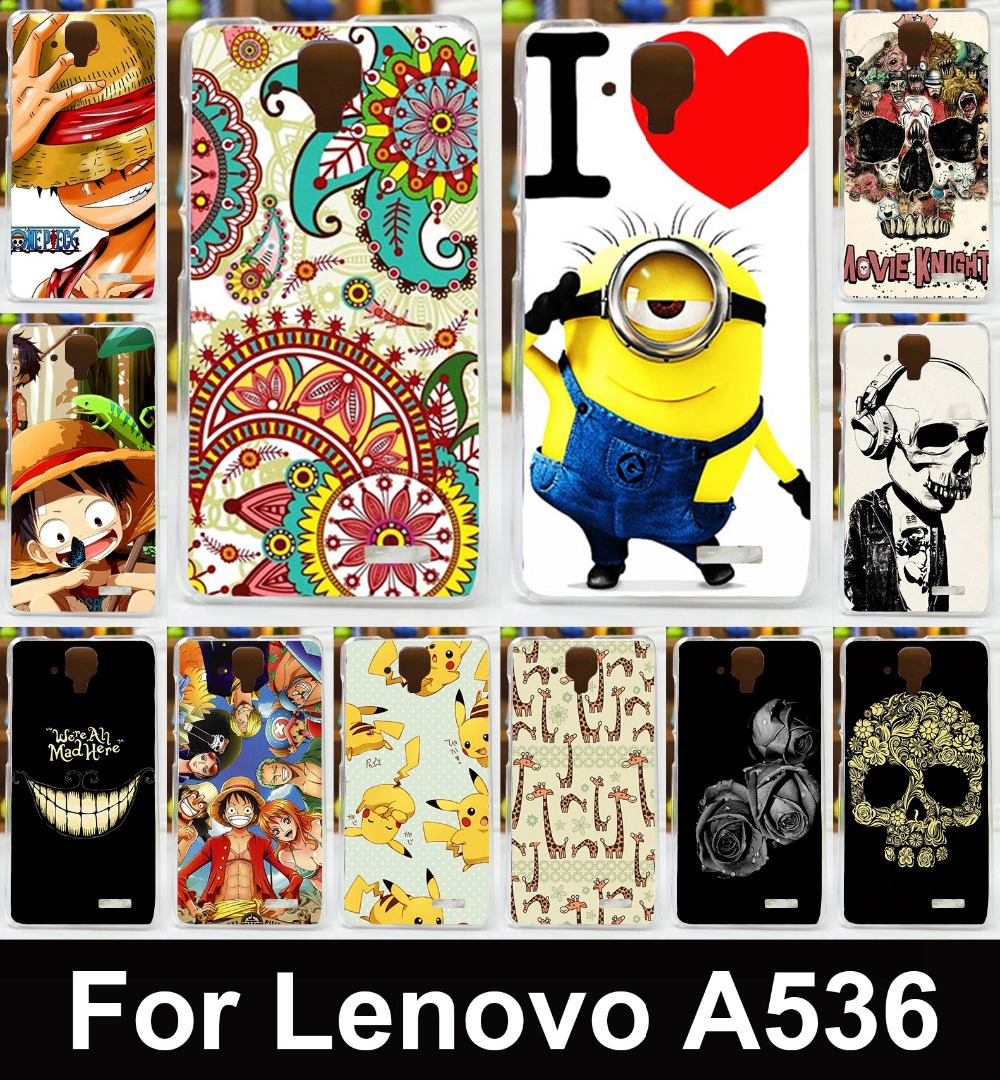 2015 Cute Transparent Side Painted Mobile celular Phone case cover For Lenovo A536 A358t Phone Back Cover Skin Hood Bag housing(China (Mainland))
