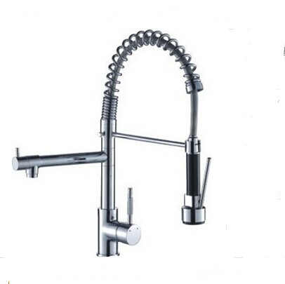 single lever kitchen faucet pull out swivel spout vessel sink mixer tap kitchen mixer with spray pull out hand shower sink taps - Kitchen Sink Mixers