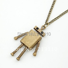 Min order $ 10 (can mix order) European and American vintage jewelry cheap robot pendant necklace wholesale ,free shipping