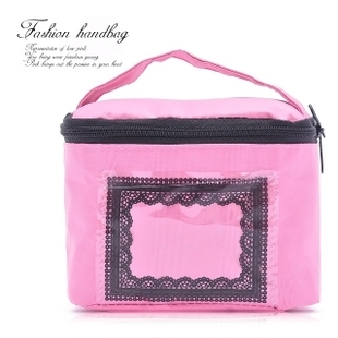 Single day saucy pink transparent lace print pocket hand type bag / private fabric storage bag