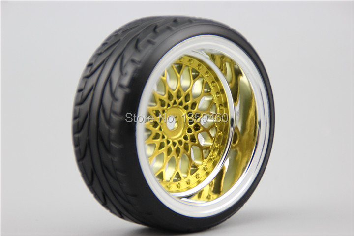 4pcs RC Hard Pattern Drift Tires Tyre Wheel Rim Y12CG 3/6/9mm offset (Chrome+Painting Gold) fits for 1:10 Drift Car(China (Mainland))
