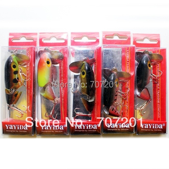 4pcs Jointed (2 sections) Jitterbug Jitter Bug Top Water Fishing Lures Baits 65mm 12.8g mix colore