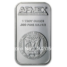 50 pcs/lot Plated 1 troy oz APMEX Silver bullion bars .999 fine uncirculated(China (Mainland))