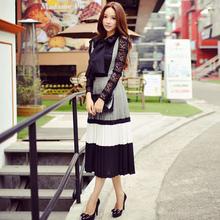 Original 2016 Brand Saia Autumn Maxi Skirts Classic Vintage Ladies High Waist Elegant Long Strap Pleated Skirt Women Wholesale