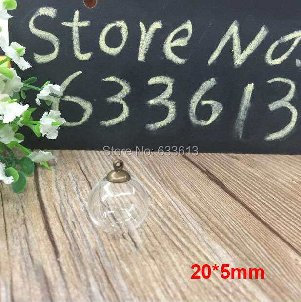 50set/lot 20mm Round Glass Ball Vial 6mm Mouth Open &amp; 8mm Mental Cap DIY Jewelry Pendant vials glass globes display, glass dome <br><br>Aliexpress
