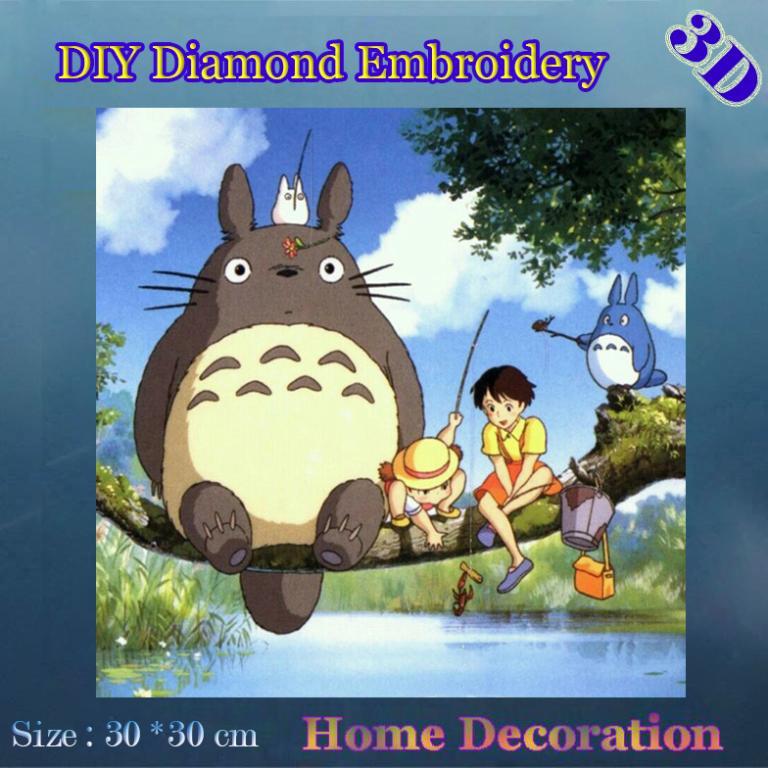 DIY Full diamond embroidery Anime Neighbor Totoro Kids room decor handicrafts diamond inlaid 3D decorative paste painting(China (Mainland))