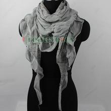 Stylish Fashion Women Girl s Stitching Chiffon Trim Ruffle Triangle Scarf Shawl Wrap New
