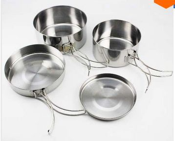 Free shipping 4pcs Camping Stainless Steel Tableware Portable Cooking Set Backpacking Picnic travel kit Outdoor Cookware(China (Mainland))