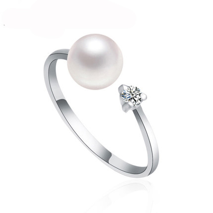 2015 Fashion Pearl Ring perfect circle Freshwater Pearl Ring Wedding Rings 925 Sterling Silver  jewelry Rings For Women<br><br>Aliexpress