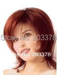 Free shipping Excellent Short Bright Burgundy straight women wig 10pcs/lot mix order