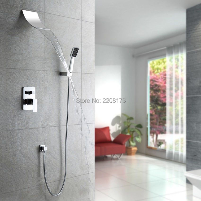 Promotions Retail New Arrival Simple Style Wall Mounted Shower System With Waterfall Spout Head & Handheld Shower Faucet Set(China (Mainland))