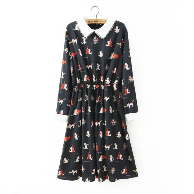 Womens Brand Dresses New Vintage 2016 Spring Summer Casual Office Dark Blue Pink Peter Pan Collar Cat Printed Midi DressОдежда и ак�е��уары<br><br><br>Aliexpress