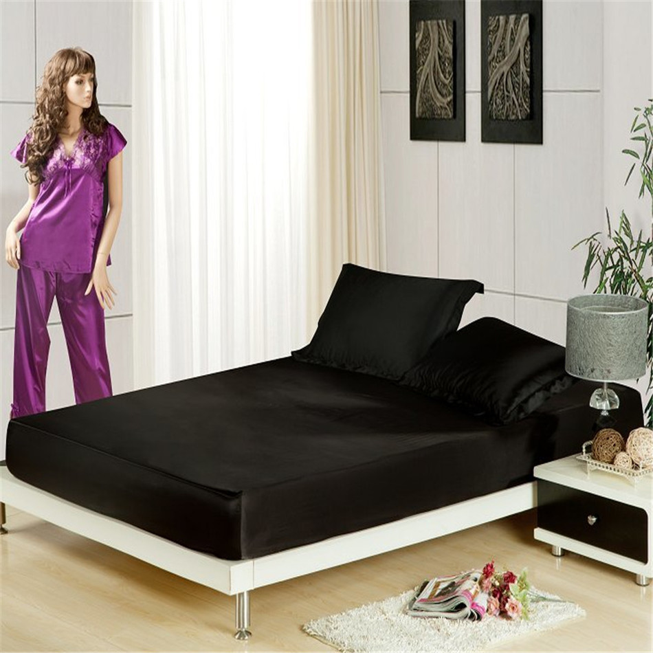 3pc fitted sheet set mattress cover satin fabric silk. Black Bedroom Furniture Sets. Home Design Ideas