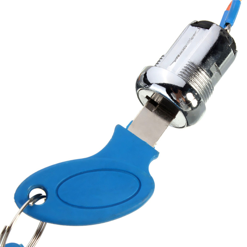 2 Wire Blue Silver Key Swtich Electric Scooter Double Start Lock Electric Door Lock Blue Ignition Switch(China (Mainland))