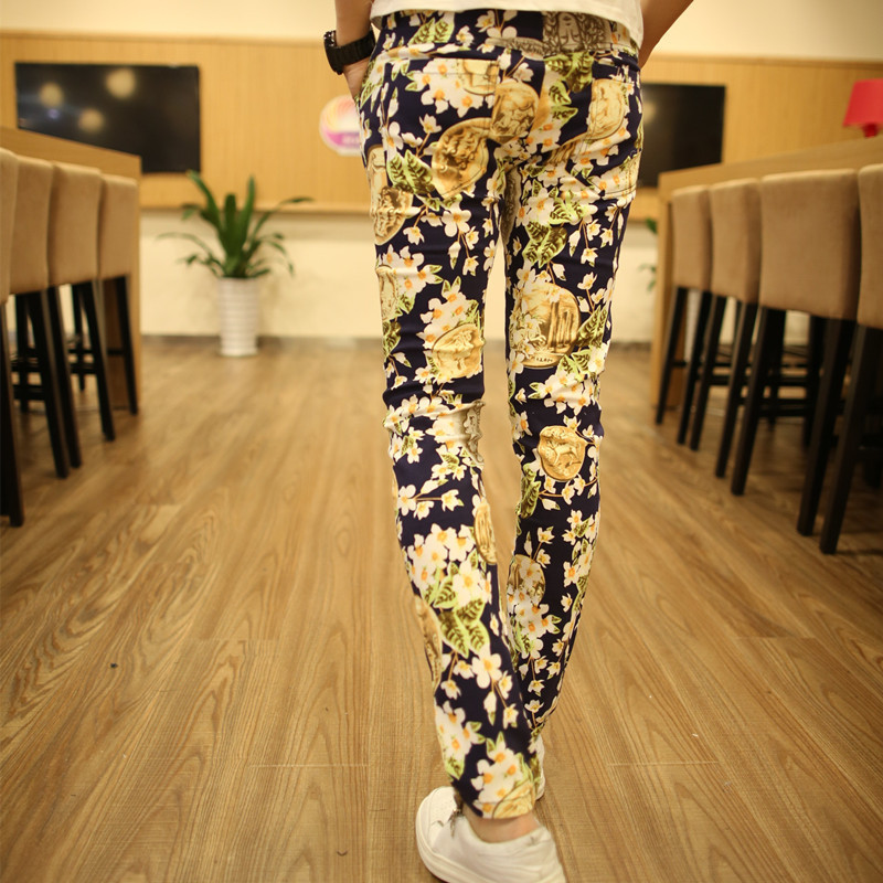 2015 New Arrival Mens Floral Cotton Pants Korean Style Spring Fashion Gold Loose Trouser Pants Casual Brand SweatpantsОдежда и ак�е��уары<br><br><br>Aliexpress