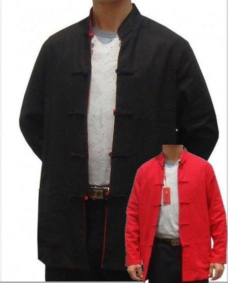 Черный красный китайских мужчин хлопок белье пальто реверсивный кунг-фу куртка красно-двустороннее ...