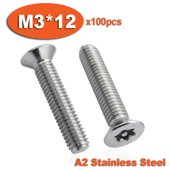 100pcs DIN7991 M3 x 12 A2 Stainless Steel Torx Flat Countersunk Head Tamper Proof Security Screw Screws<br><br>Aliexpress